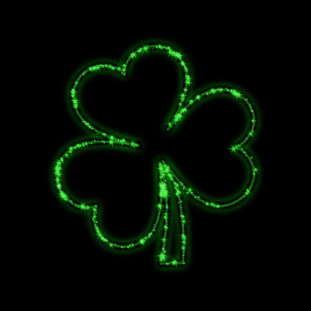 shining stars like green trefoil over black background photo