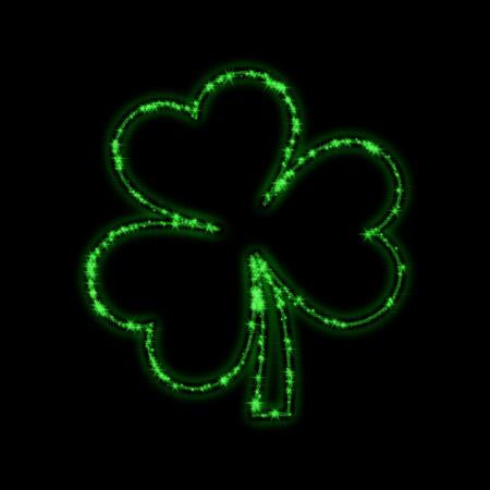 shamrock: shining stars like green trefoil over black background Stock Photo