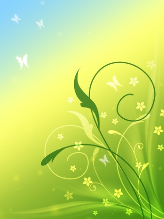 spring flowers and butterflies in blue, yellow and green Stock Photo - 12774055
