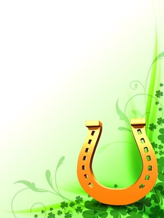 talismán: 3d de herradura con los tréboles verdes flores de oro, motivo de la primavera