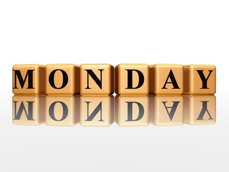 3d golden cubes with letters makes monday Stock Photo - 12774066