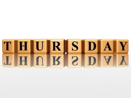 thursday: 3d golden cubes with letters makes thursday Stock Photo
