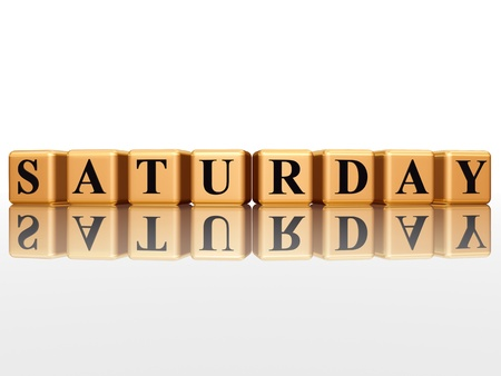 saturday: 3d golden cubes with letters makes saturday Stock Photo