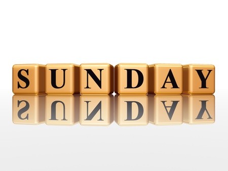 3d golden cubes with letters makes sunday photo