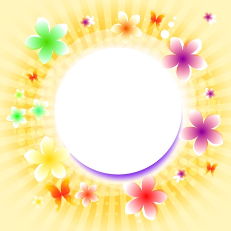 spring background with flowers and rays with text place photo