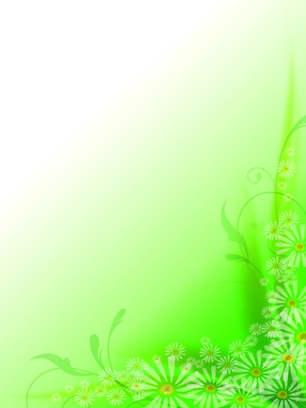 green background with abstarct curves and flowers