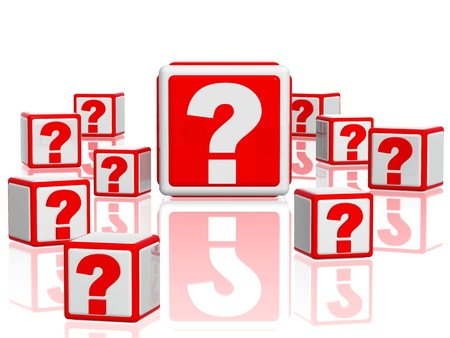3d white red boxes with question signs Stock Photo - 12925478