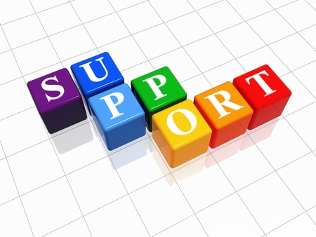 support 3d color cubes with text over white Stock Photo - 12925502