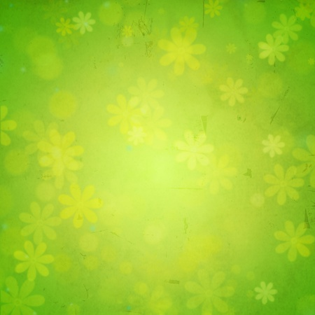 abstract green background - flowers over old paper photo