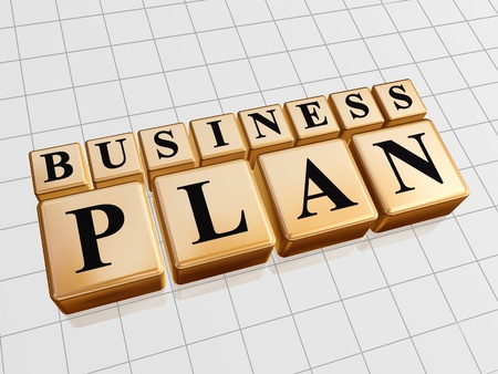 business concern: 3d golden cubes with black letters with text - business plan Stock Photo