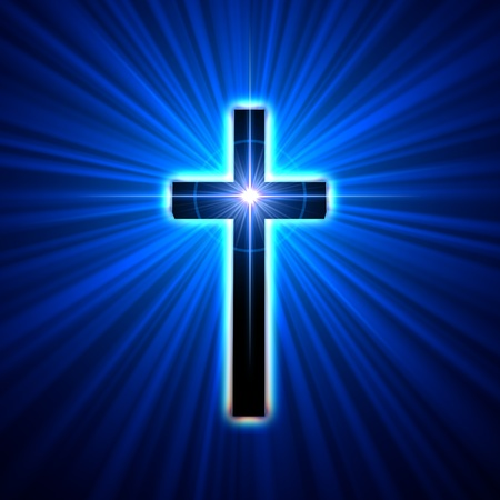 jesus on the cross: back glowing cross over blue light rays