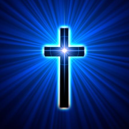jesus on cross: cruzar de nuevo brillando en rayos de luz azul Foto de archivo