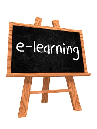 flipchart: 3d isolated wooden blackboard with text - e-learning Stock Photo