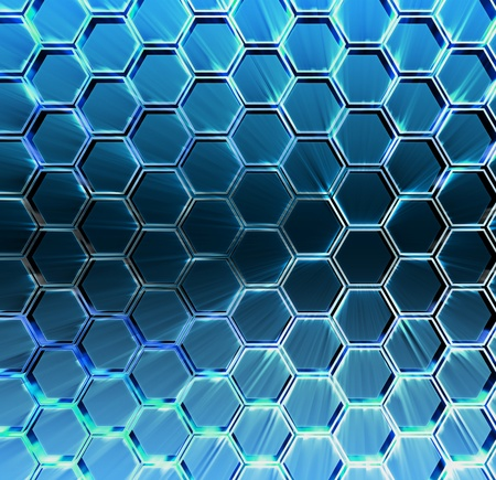 Abstract blue background 3d Metallic hexagons with backlight  photo