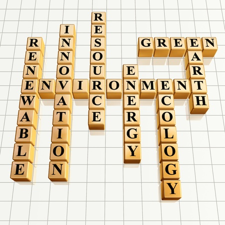 3d golden cubes, crossword - environment, renewable, innovation, resource, energy, ecology, Earth, green photo