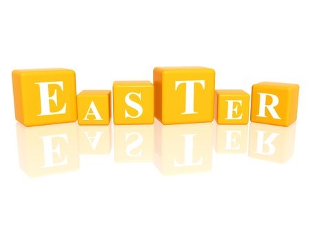 weekday: 3d yellow cubes with letters makes Easter
