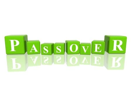 pasch: 3d cubi verdi con lettere rende Pasqua