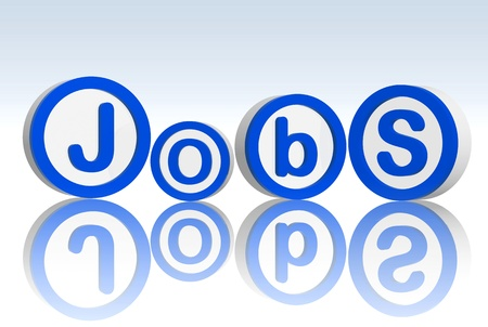 3d blue white circles with text jobs Stock Photo - 13009585