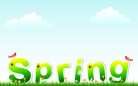 slower: Spring - text on grass and flowers with sky