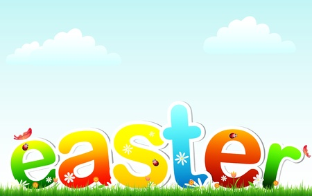 slower: Easter- text on grass and flowers with sky