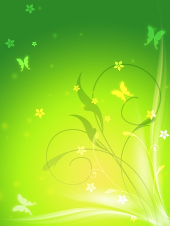 abstract spring background with butterflys and flowers photo