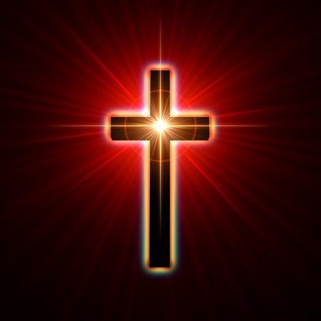 cruz religiosa: cruzar de nuevo brillando en rayos de luz de color rojo Foto de archivo