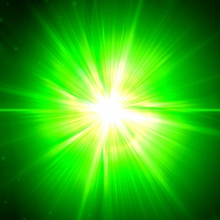 abstract white light rays over green background photo