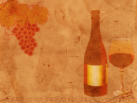 glas: bottle of wine and glas and grape over old paper Stock Photo
