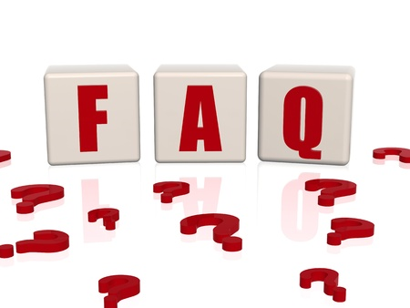 frequently asked question: Frequently asked question � text on 3d cubes and question signs Stock Photo