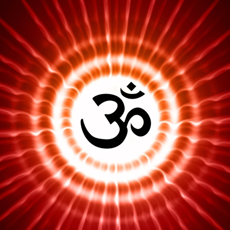 black om symbol over red lightrays photo