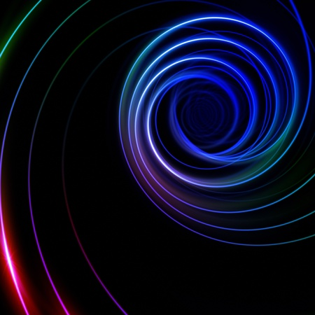 abstract multicolor spiral glowing lines over black photo