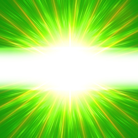 lustrous: abstract ray lights  over green with text place