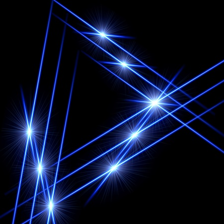 garish: blue triangle - lines and light rays over black
