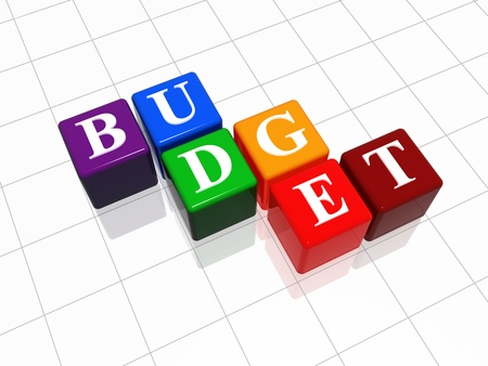 managing money: Budget - text on color 3d cubes wiht reflection
