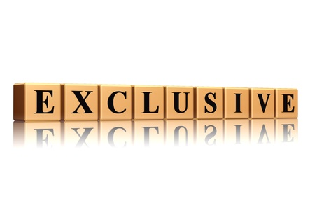 Exclusive golden cube with black letter with reflection Stock Photo - 13045200