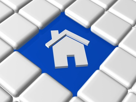 refinance: 3d house icon over blue and white boxes