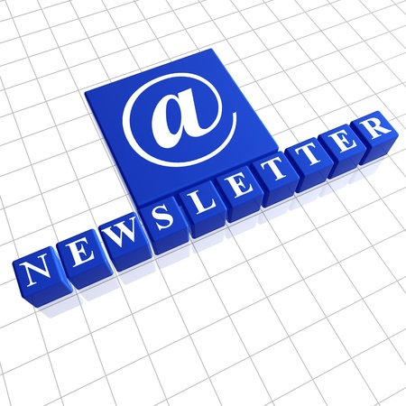 Newsletter - letters and email sign over blue 3d boxes Stock Photo - 13045239