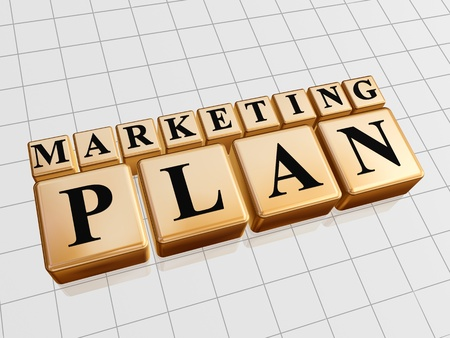marketing plan – golden boxes with black letters photo
