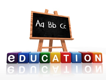 primary colors: wooden blackboard with text – abc and education text on boxes Stock Photo