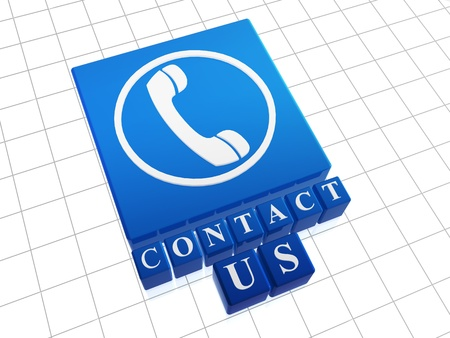 client service: Contact Us – text and icon over blue boxes  Stock Photo