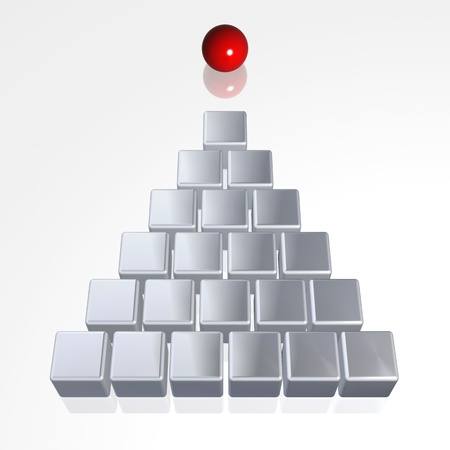 leadership abstract: Pyramid from silver boxes leading by red sphere Stock Photo