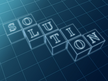project management: Solution - outline text in boxes over blue background