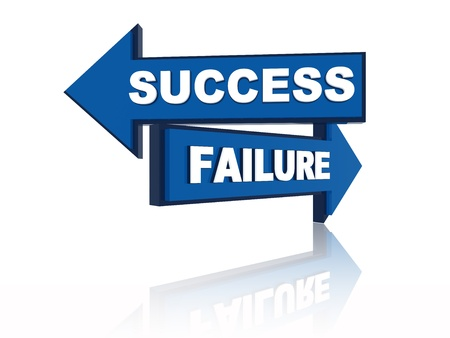 Success failure - 3d blue oposite arrows with text photo