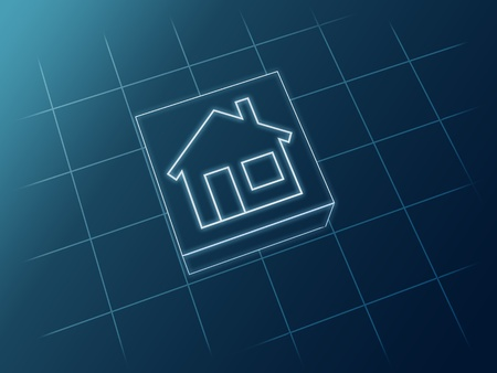 Sketch 3d house icon from white lines over blue photo