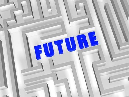 company vision: future- 3d blue text in white labirint