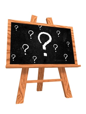 inquiry: 3d isolated blackboard with easel with questions sign