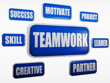 team vision: Teamwork, motivate, project, success, leader, skill, creative, partner