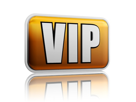 notable: VIP – isolated golden banner with white letters  Stock Photo