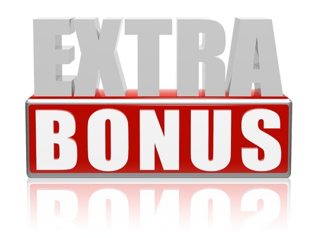 extra money: Extra bonus � 3d letters with red box