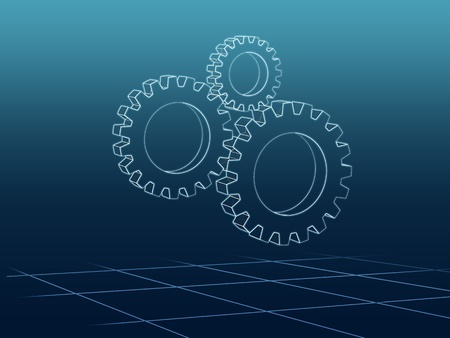 Abstract render of Three white gears over blue Stock Photo - 13219670